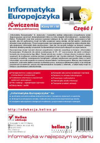 Tył okładki książki/ebooka Informatyka Europejczyka. iĆwiczenia dla szkoły podstawowej, kl. IV-VI. Część I