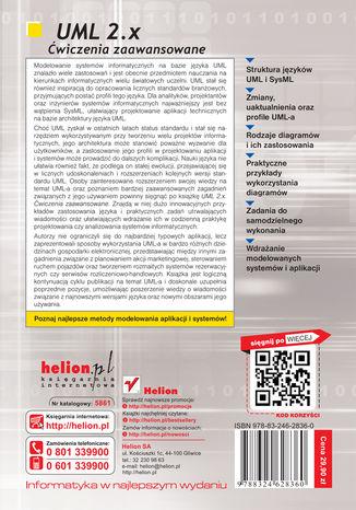 Tył okładki książki/ebooka UML 2.x. Ćwiczenia zaawansowane