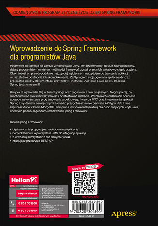 Tył okładki książki/ebooka Wprowadzenie do Spring Framework dla programistów Java