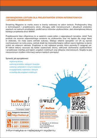 Tył okładki książki Projektowanie witryn internetowych User eXperience. Smashing Magazine