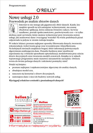 Tył okładki książki/ebooka Nowe usługi 2.0. Przewodnik po analizie zbiorów danych