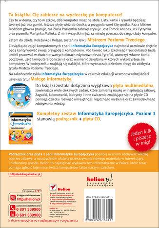 Tył okładki książki Informatyka Europejczyka. Nauka i zabawa z komputerem w edukacji wczesnoszkolnej. Poziom 3 (Wydanie II)
