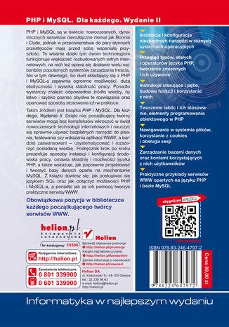 Tył okładki książki/ebooka PHP i MySQL. Dla każdego. Wydanie II