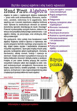 Tył okładki książki/ebooka Head First Algebra. Edycja polska