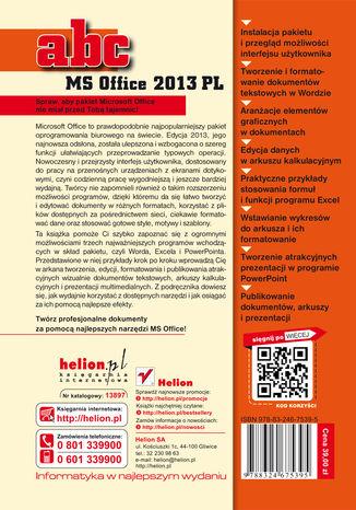 Tył okładki książki ABC MS Office 2013 PL