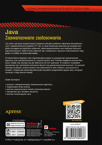 Tył okładki książki/ebooka Java. Zaawansowane zastosowania