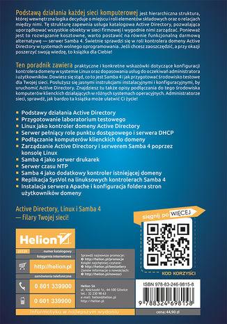 Tył okładki książki/ebooka Active Directory w systemach wolnego oprogramowania