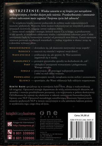 Tył okładki książki/ebooka Czarna księga perswazji. Używaj NLP, by zdobyć wszystko, czego pragniesz