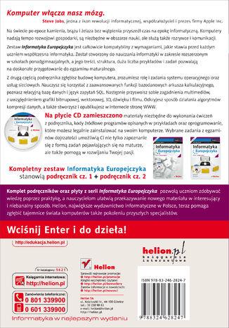 Tył okładki książki/ebooka Informatyka Europejczyka. Informatyka. Podręcznik dla szkół ponadgimnazjalnych. Zakres rozszerzony. Część 2 (Wydanie II)