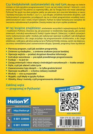Tył okładki książki Python na start! Programowanie dla nastolatków