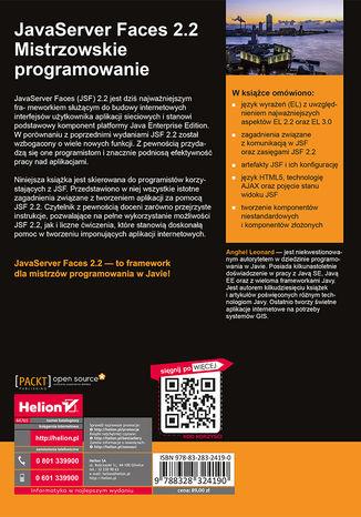 Tył okładki książki/ebooka JavaServer Faces 2.2. Mistrzowskie programowanie