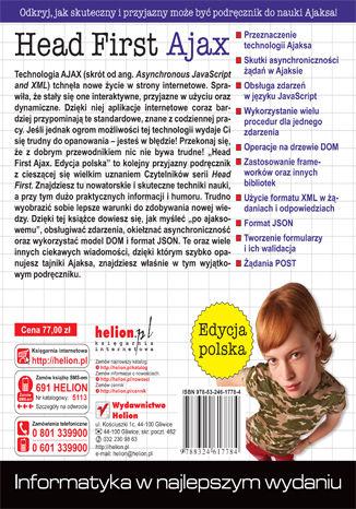 Tył okładki książki/ebooka Head First Ajax. Edycja polska