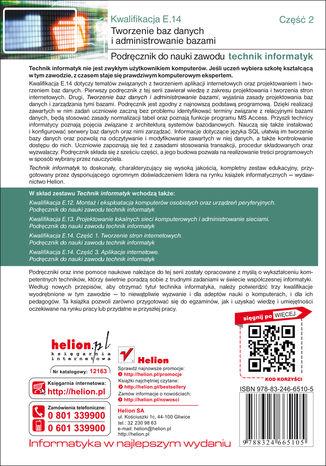 Tył okładki książki/ebooka Kwalifikacja E14. Część 2. Tworzenie baz danych i administrowanie bazami. Podręcznik do nauki zawodu technik informatyk