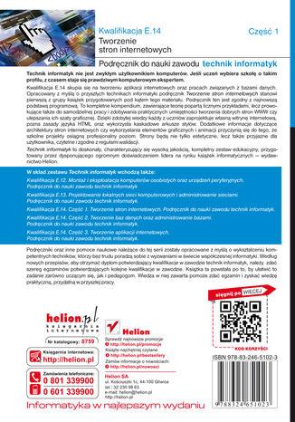 Tył okładki książki/ebooka Kwalifikacja E.14. Część 1. Tworzenie stron internetowych