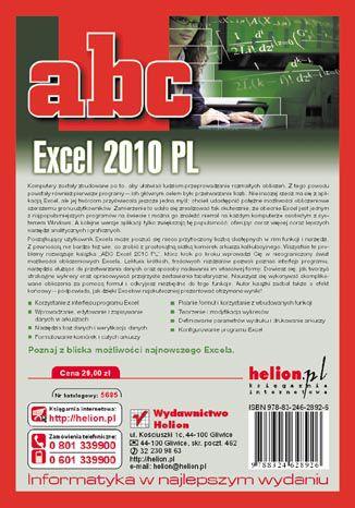 Tył okładki książki/ebooka ABC Excel 2010 PL