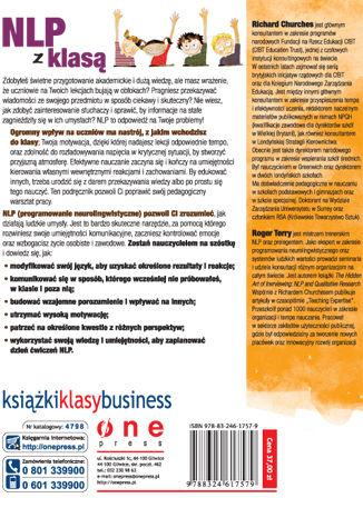 Tył okładki książki/ebooka NLP dla nauczycieli. Szkoła efektywnego nauczania