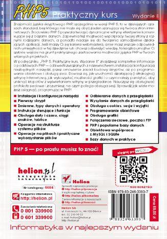 Tył okładki książki/ebooka PHP 5. Praktyczny kurs. Wydanie II