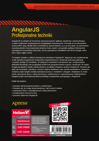Tył okładki książki AngularJS. Profesjonalne techniki