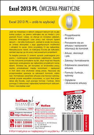 Tył okładki książki/ebooka Excel 2013 PL. Ćwiczenia praktyczne