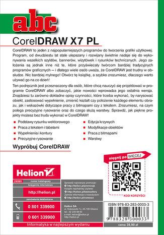Tył okładki książki ABC CorelDRAW X7 PL