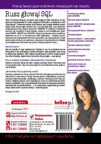 Tył okładki książki/ebooka SQL. Rusz głową!