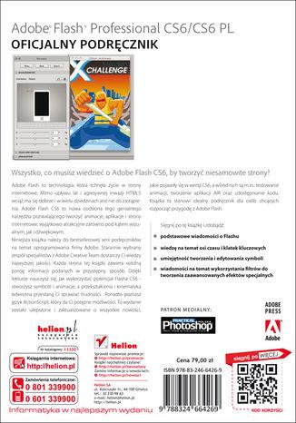Tył okładki książki/ebooka Adobe Flash Professional CS6/CS6PL. Oficjalny podręcznik