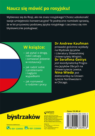 Tył okładki książki/ebooka Rozmówki rosyjskie dla bystrzaków
