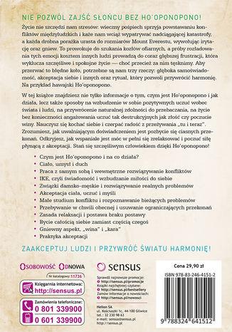 Tył okładki książki/ebooka Ho'oponopono. Wprowadzanie wewnętrznej harmonii