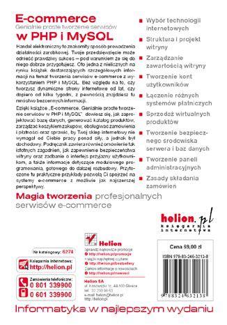 Tył okładki książki/ebooka E-commerce. Genialnie proste tworzenie serwisów w PHP i MySQL