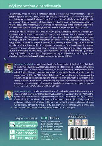 Tył okładki książki/ebooka E-commerce na platformach ofertowych Allegro, eBay, Amazon