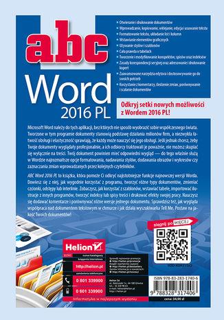 Tył okładki książki/ebooka ABC Word 2016 PL