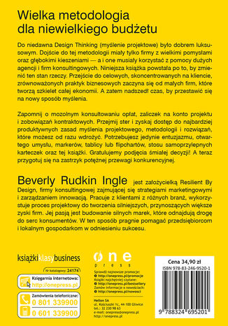 Tył okładki książki Design Thinking dla przedsiębiorców i małych firm. Potęga myślenia projektowego w codziennej pracy
