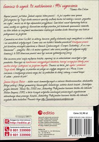Tył okładki książki Szkoła twórczego pisania. Jak zostać autorem bestsellerowych powieści