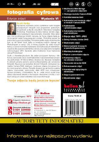 Tył okładki książki/ebooka Fotografia cyfrowa. Edycja zdjęć. Wydanie VI