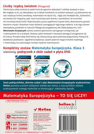 Tył okładki książki/ebooka Matematyka Europejczyka. Podręcznik dla szkół ponadgimnazjalnych. Zakres podstawowy i rozszerzony. Klasa 3