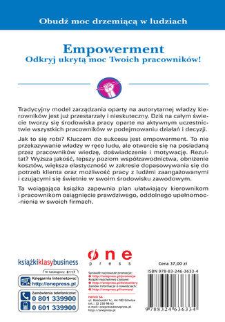 Tył okładki książki/ebooka Empowerment. Odkryj ukrytą moc Twoich pracowników!