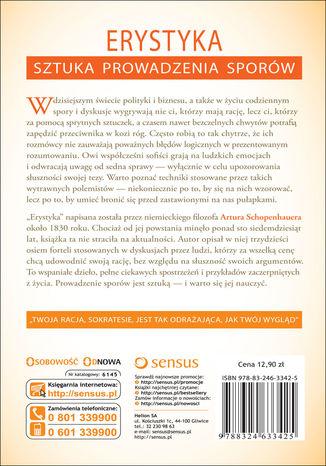 Tył okładki książki/ebooka Erystyka. Sztuka prowadzenia sporów