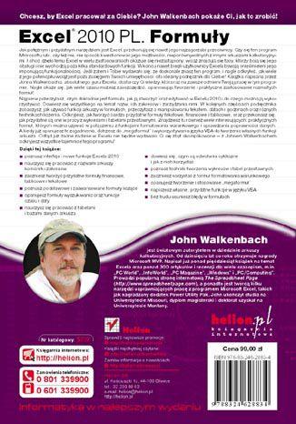 Tył okładki książki/ebooka Excel 2010 PL. Formuły