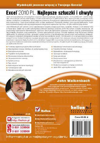 Tył okładki książki/ebooka Excel 2010 PL. Najlepsze sztuczki i chwyty. Vademecum Walkenbacha