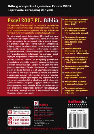 Tył okładki książki/ebooka Excel 2007 PL. Biblia