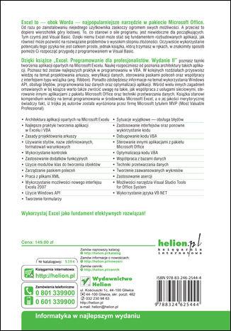 Tył okładki książki/ebooka Excel. Programowanie dla profesjonalistów. Wydanie II