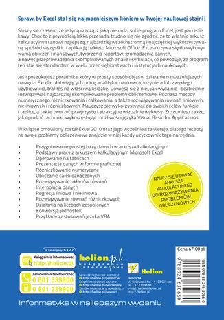 Tył okładki książki/ebooka Excel w obliczeniach naukowych i inżynierskich. Wydanie II