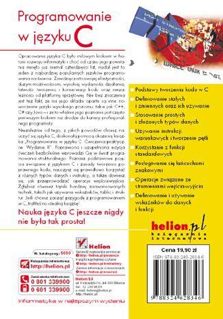 Tył okładki książki Programowanie w języku C. Ćwiczenia praktyczne. Wydanie II