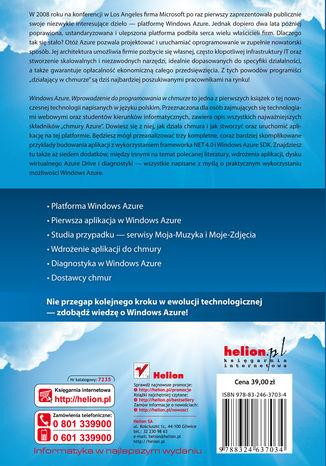 Tył okładki książki/ebooka Windows Azure. Wprowadzenie do programowania w chmurze