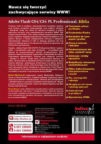 Tył okładki książki/ebooka Adobe Flash CS4/CS4 PL Professional. Biblia