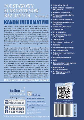 Tył okładki książki Podstawowy kurs systemów baz danych. Wydanie III