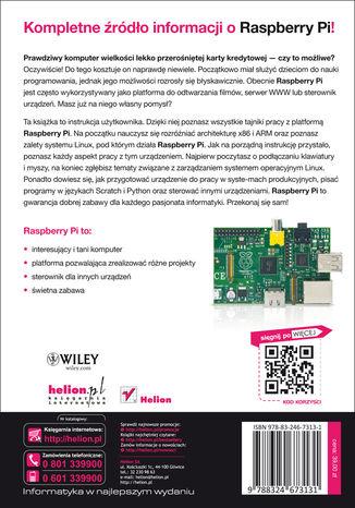 Tył okładki książki/ebooka Raspberry Pi. Przewodnik użytkownika