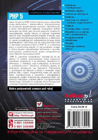 Tył okładki książki/ebooka PHP 5. Leksykon kieszonkowy