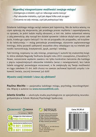 Tył okładki książki/ebooka Trening intelektu. Wyćwicz pamięć, koncentrację i kreatywność w 31 dni. Wydanie II rozszerzone