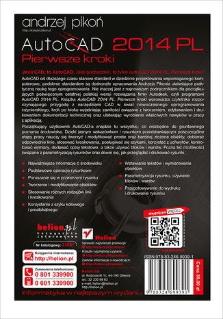 Tył okładki książki AutoCAD 2014 PL. Pierwsze kroki